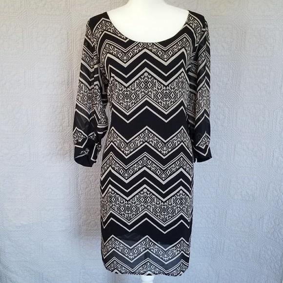 Plus Size Chevron Print Black and Tan Shift Dress
